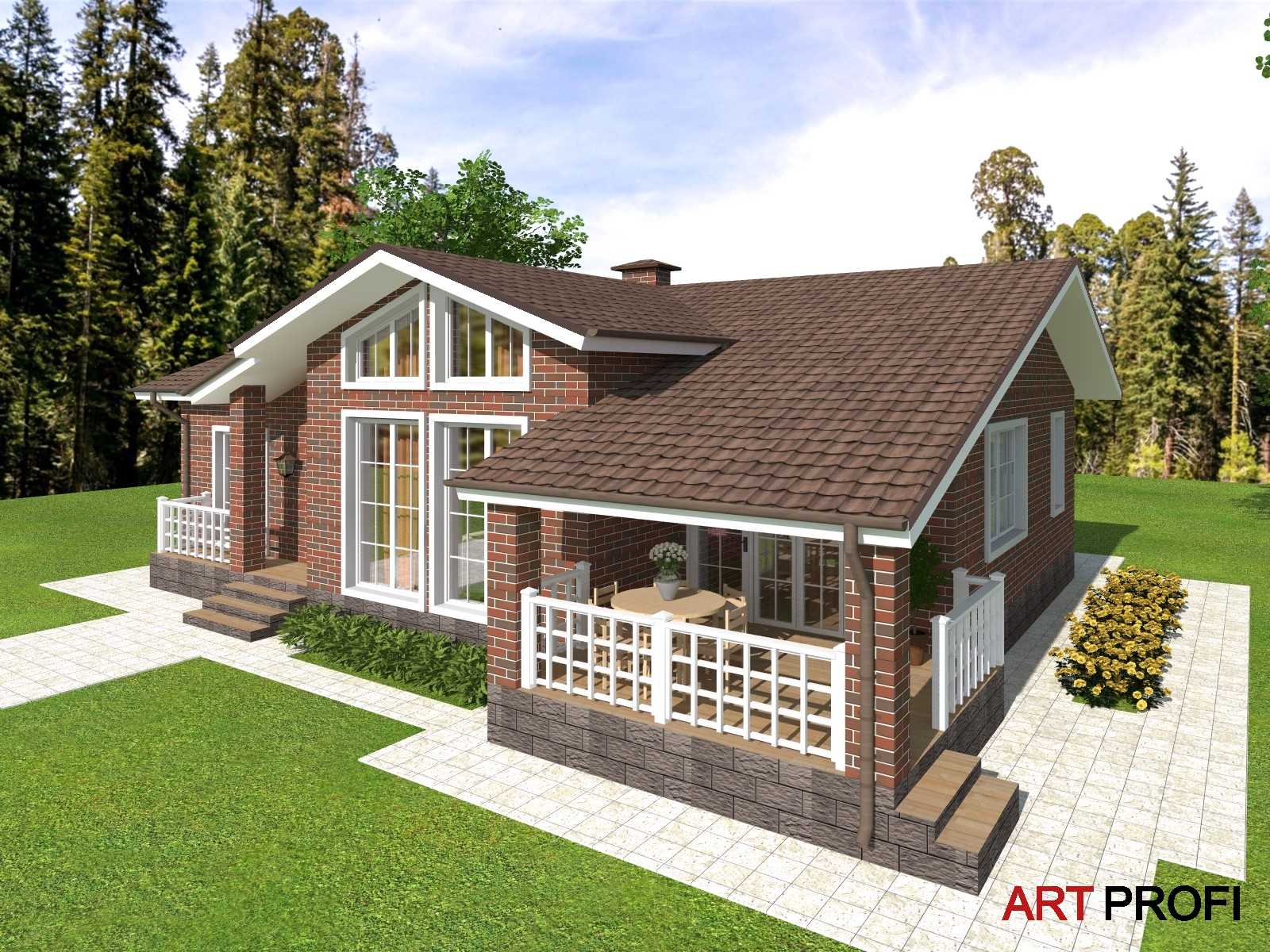 Проекты домов и коттеджей. Стильный одноэтажный дом со вторым светом.