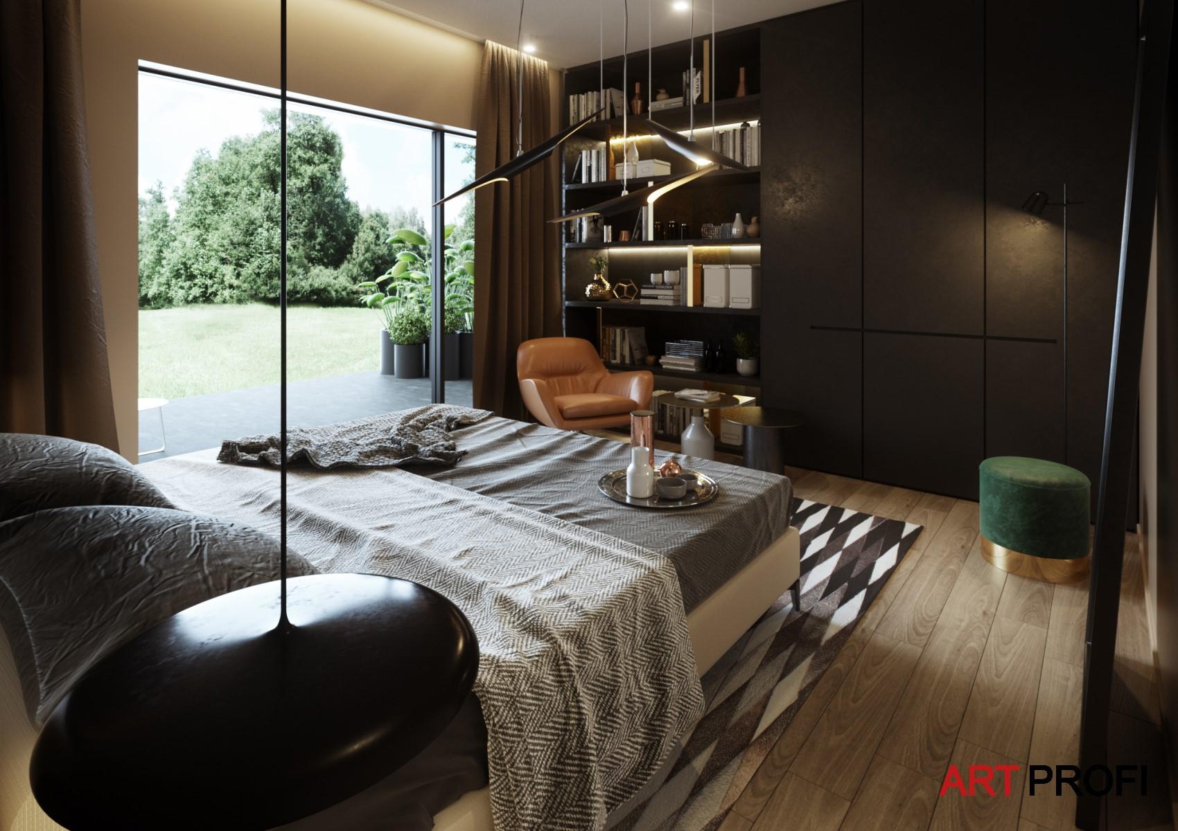 Дизайн интерьера. Дизайн спальни с видом на лес.