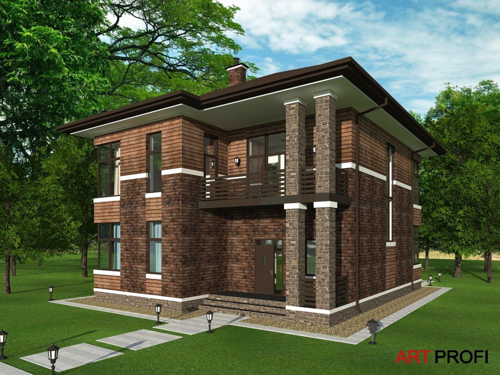 Проекты домов и коттеджей. Дом в стиле Райта.