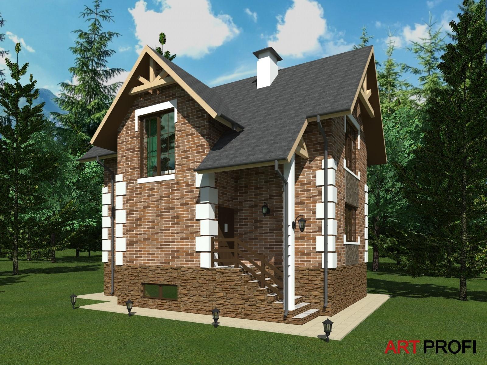 Проекты домов и коттеджей. Уютный двухэтажный дом.