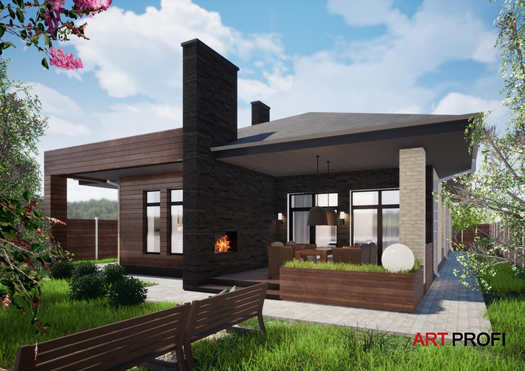 Проекты домов и коттеджей. Одноэтажный дом с раскошной террасой.