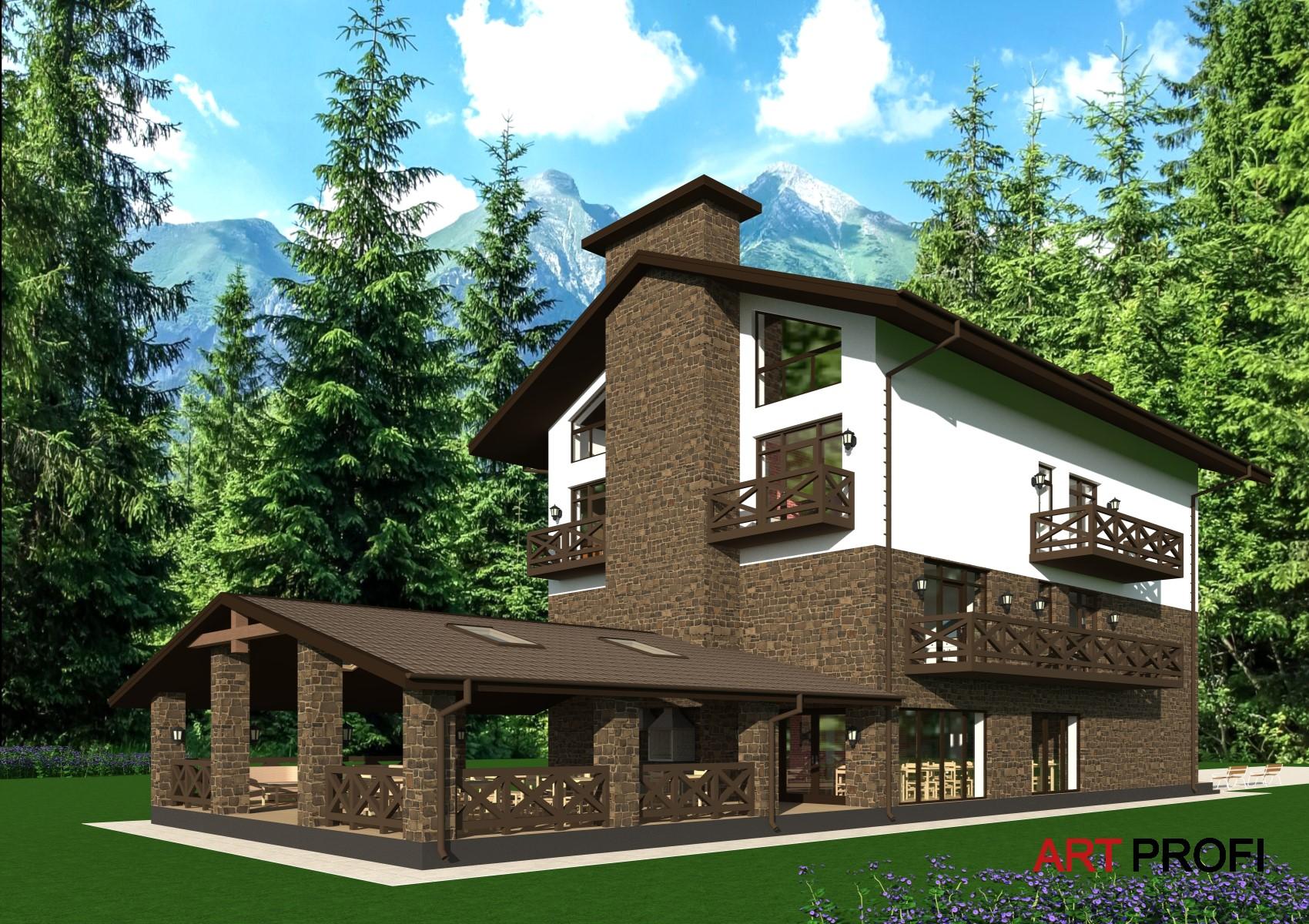 Проекты домов и коттеджей. Проект гостевого доиа.