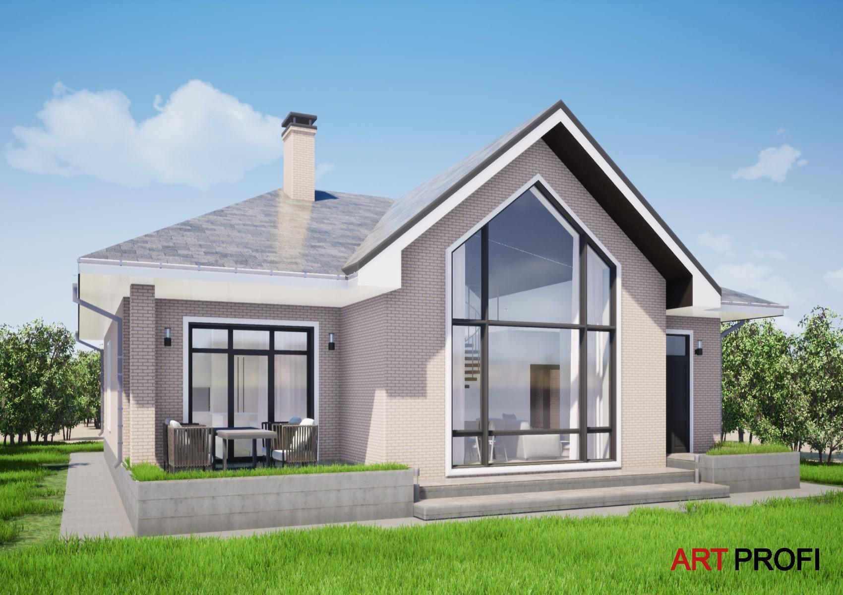 Проекты домов и коттеджей. Одноэтажный дом с балконом внутри..