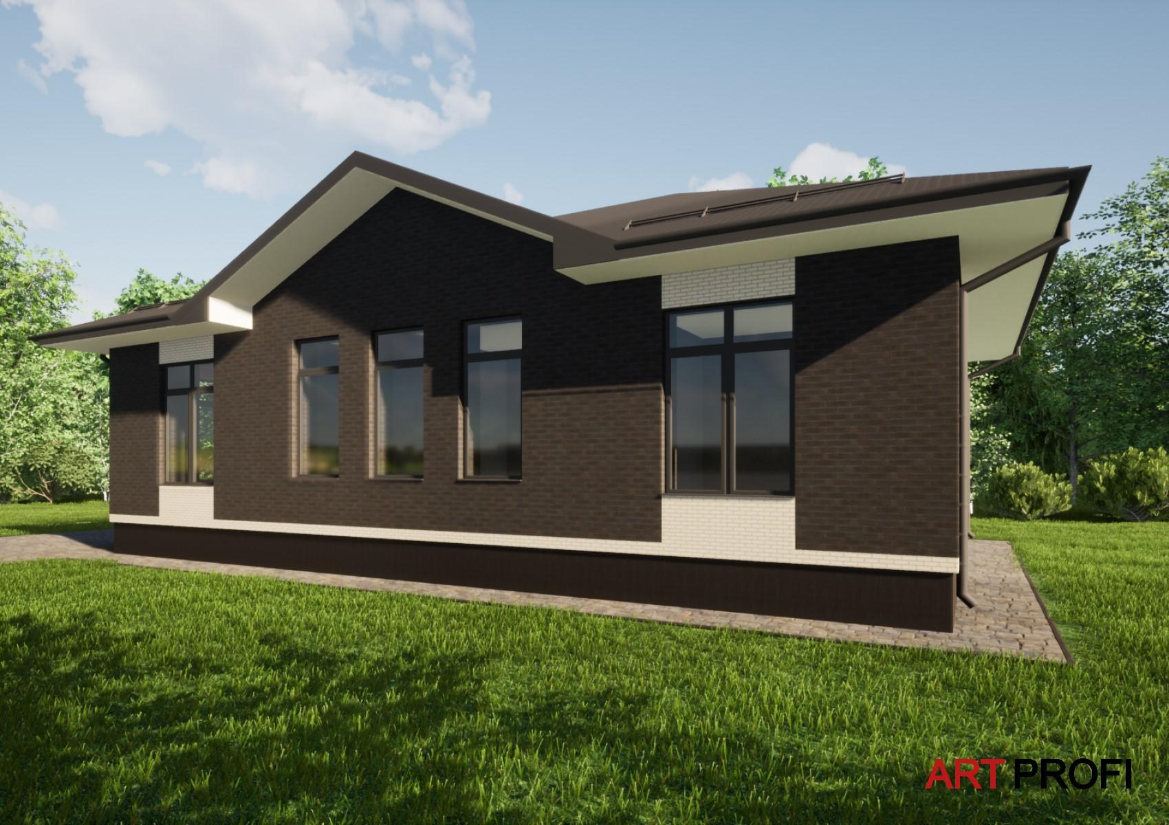 Проекты домов и коттеджей. Одноэтажный дом с террасой.